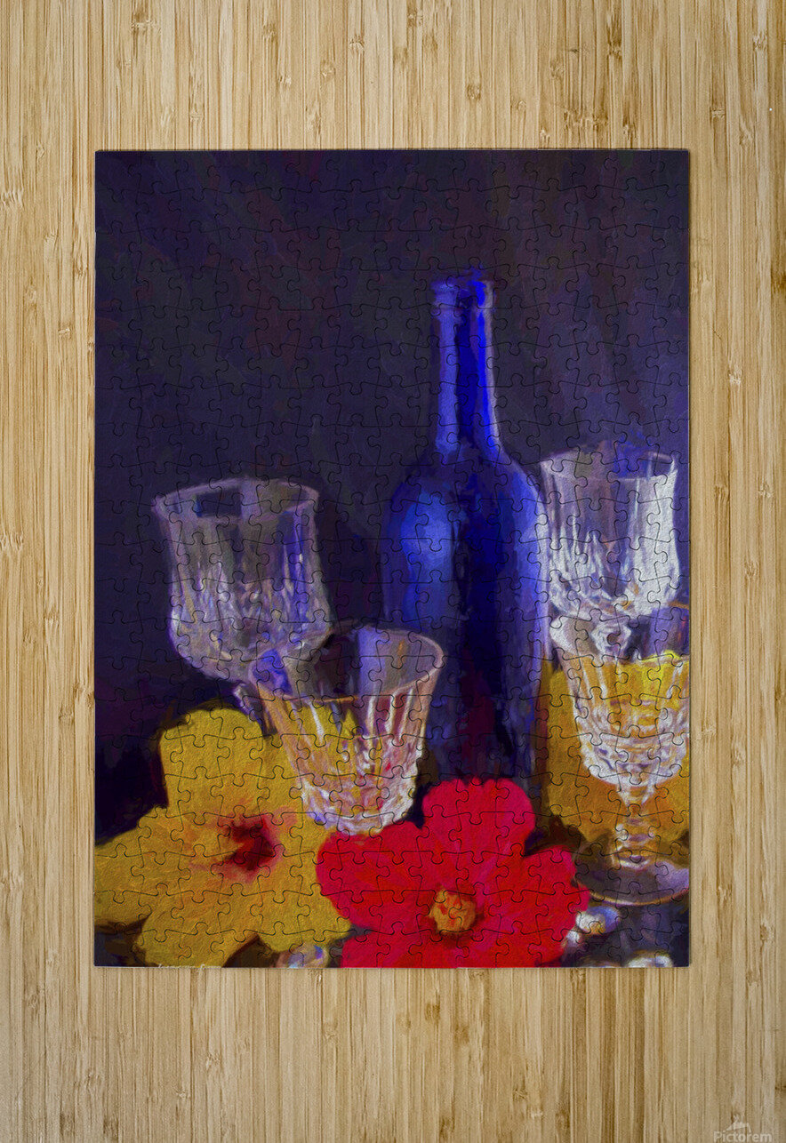 Painterly Blue Wine Bottle with four Crystal and Tropical Flowers  HD Metal print with Floating Frame on Back