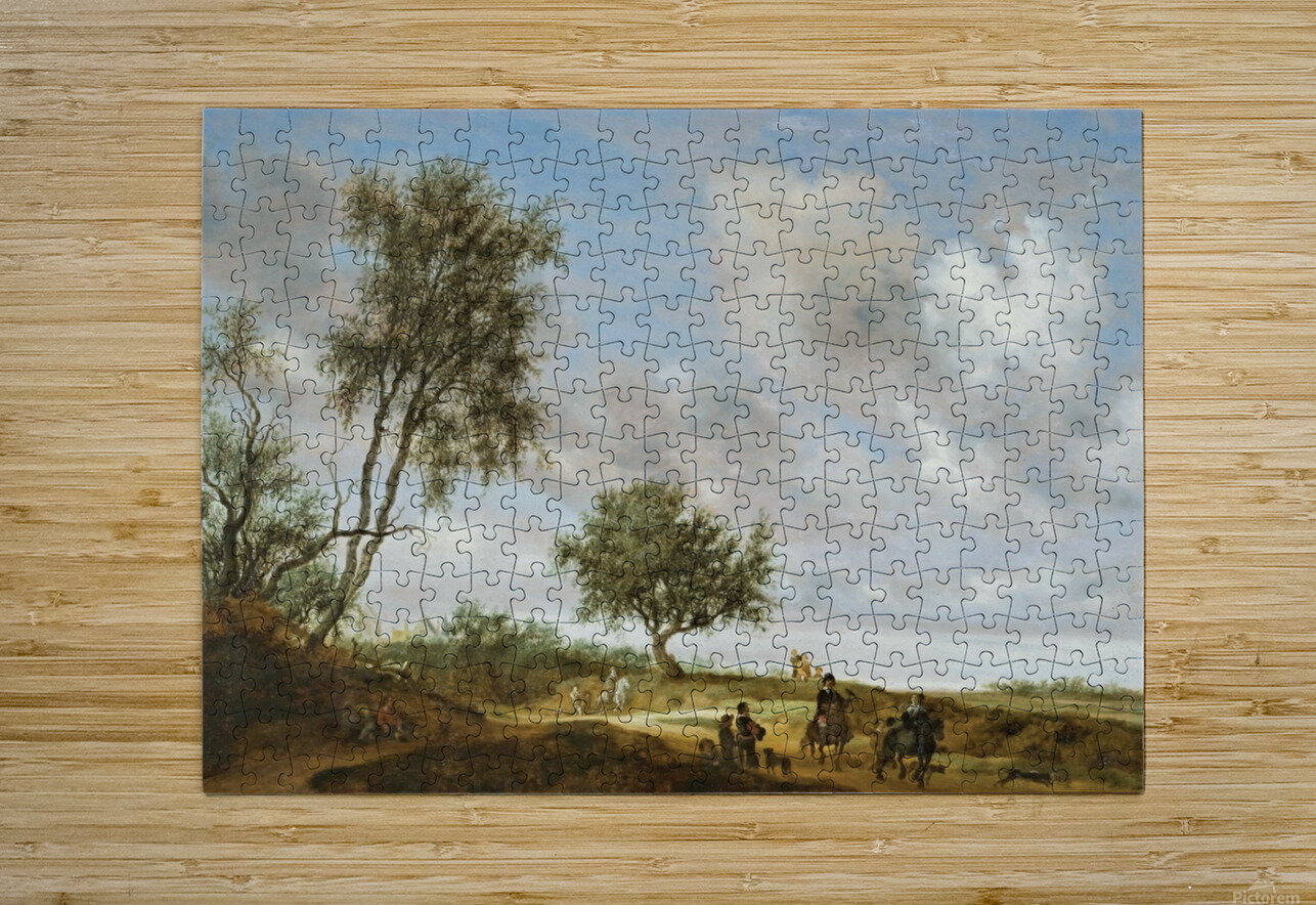 Landscape with a Hunting Party, 1648  HD Metal print with Floating Frame on Back