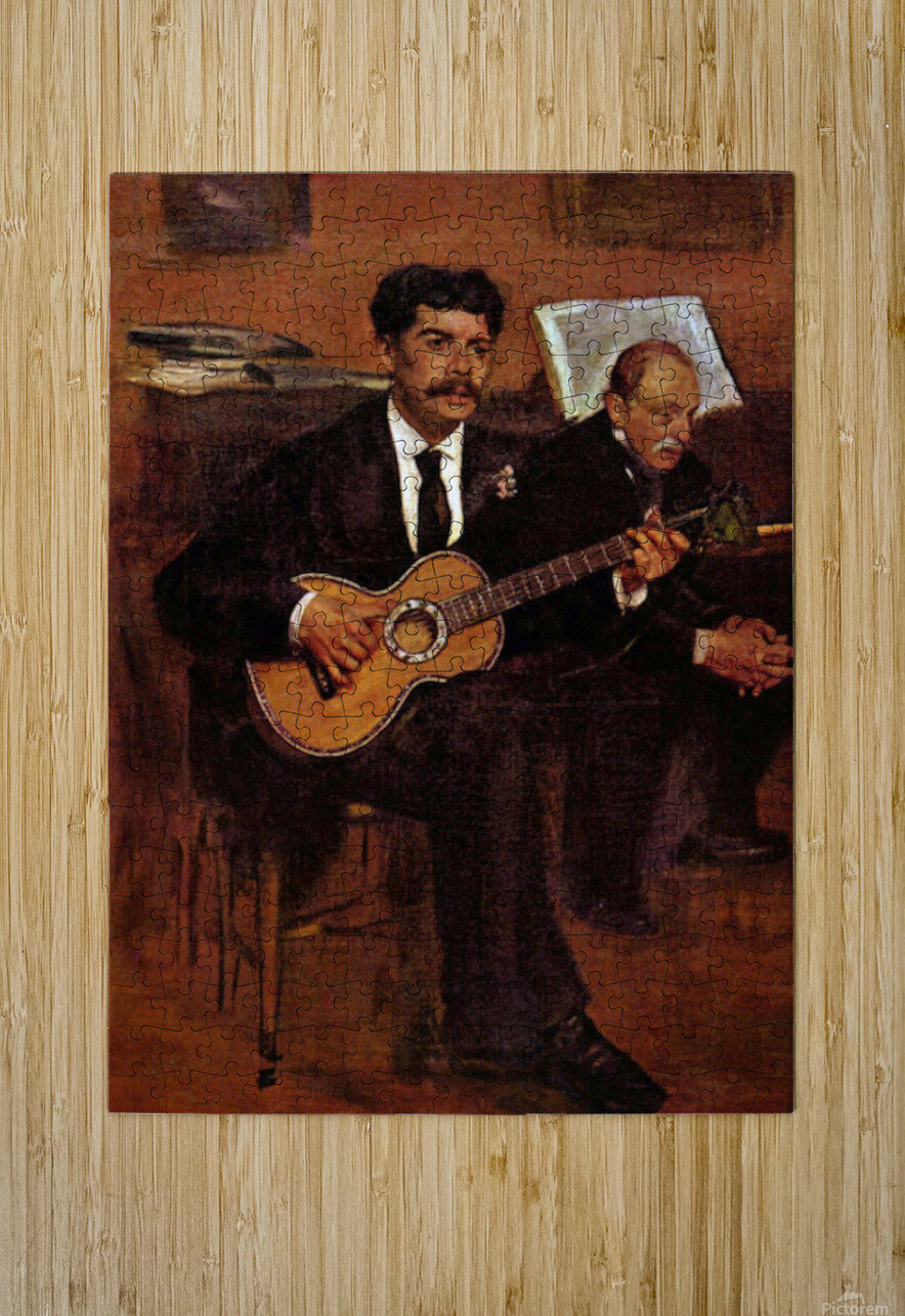 The guitarist Pagans and Monsieur Degas by Degas  HD Metal print with Floating Frame on Back