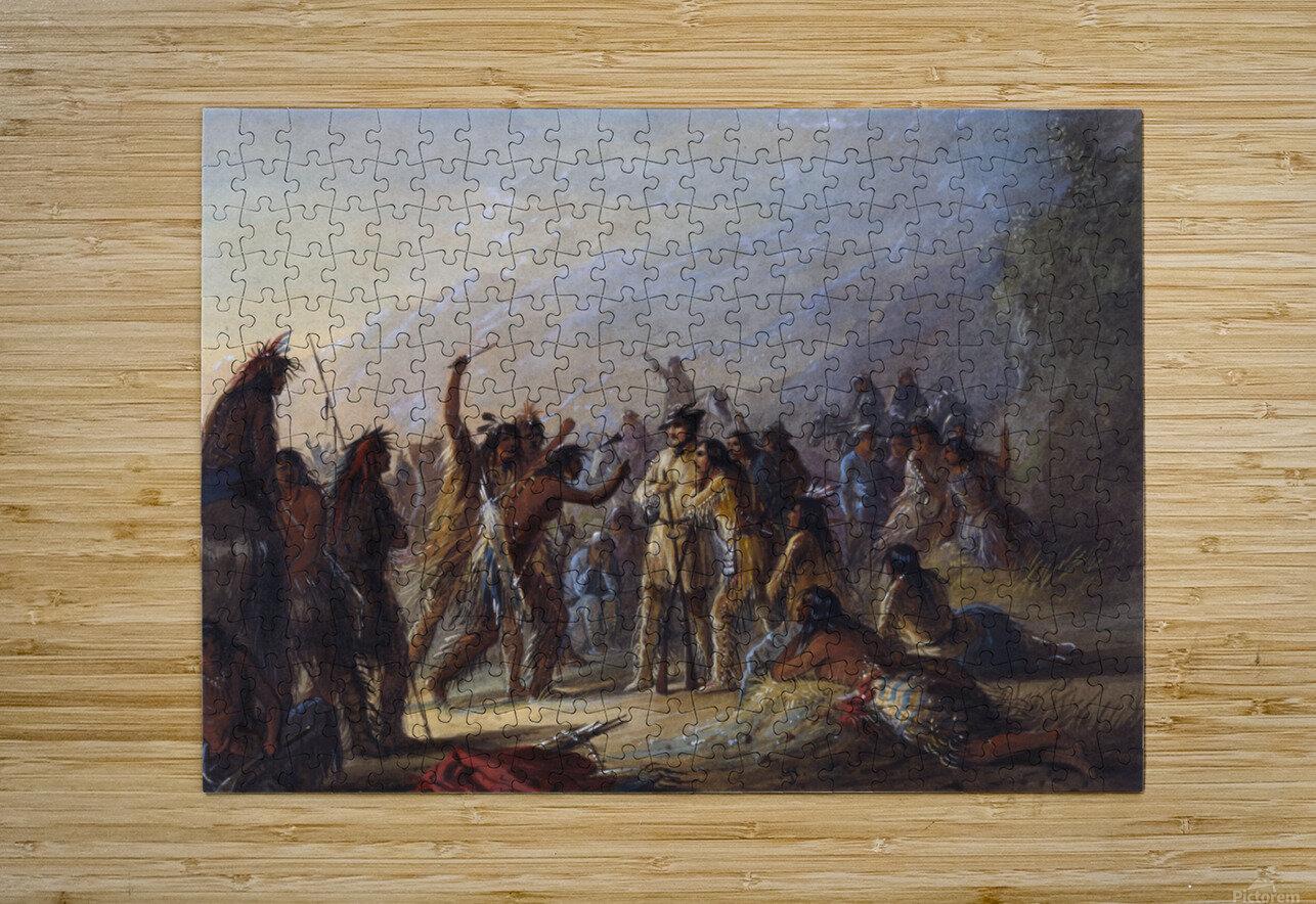 Attack by Crow Indians  Impression métal HD avec cadre flottant sur le dos