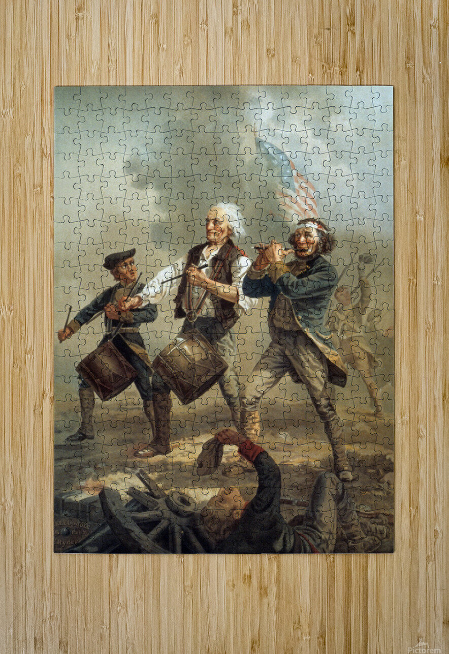 A painting of three men marching through a battle scene  HD Metal print with Floating Frame on Back