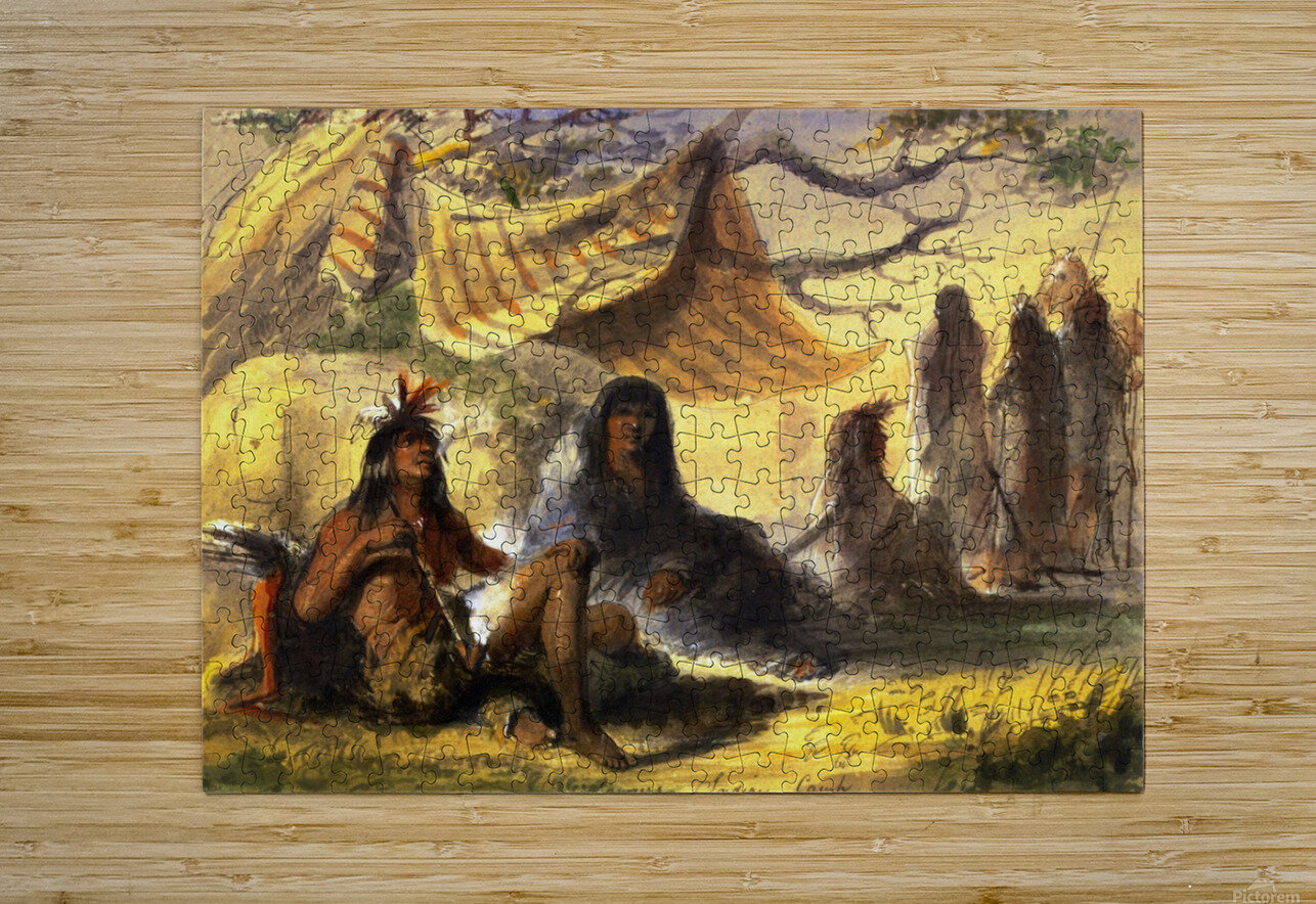 Pawnee Indian Camp  HD Metal print with Floating Frame on Back