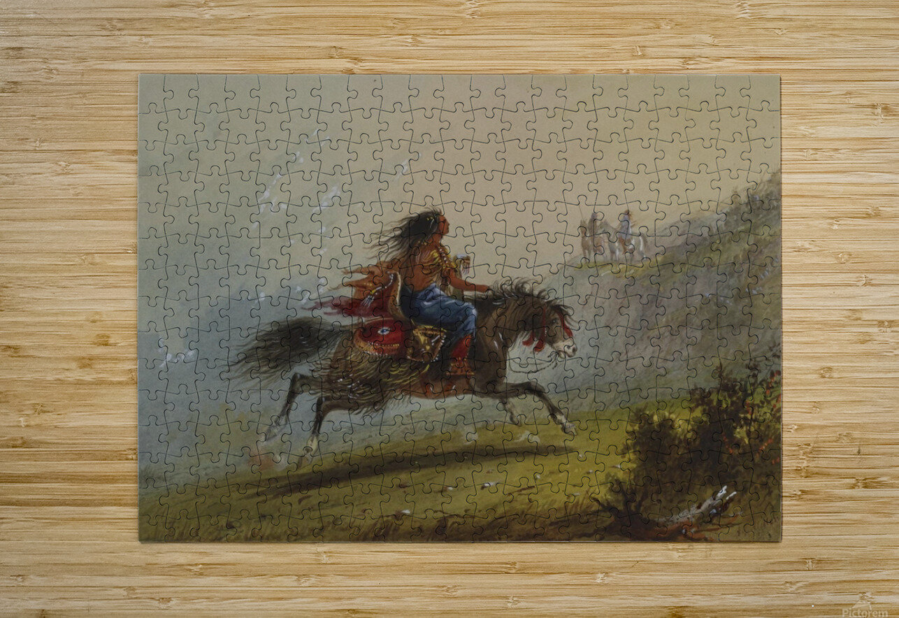 An Indian girl on horseback  HD Metal print with Floating Frame on Back