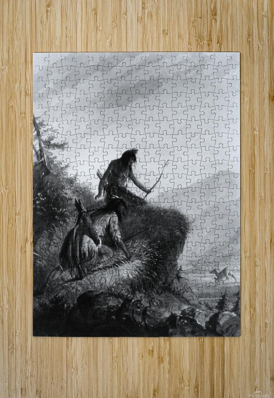 Snake Indians Shooting Elk  HD Metal print with Floating Frame on Back