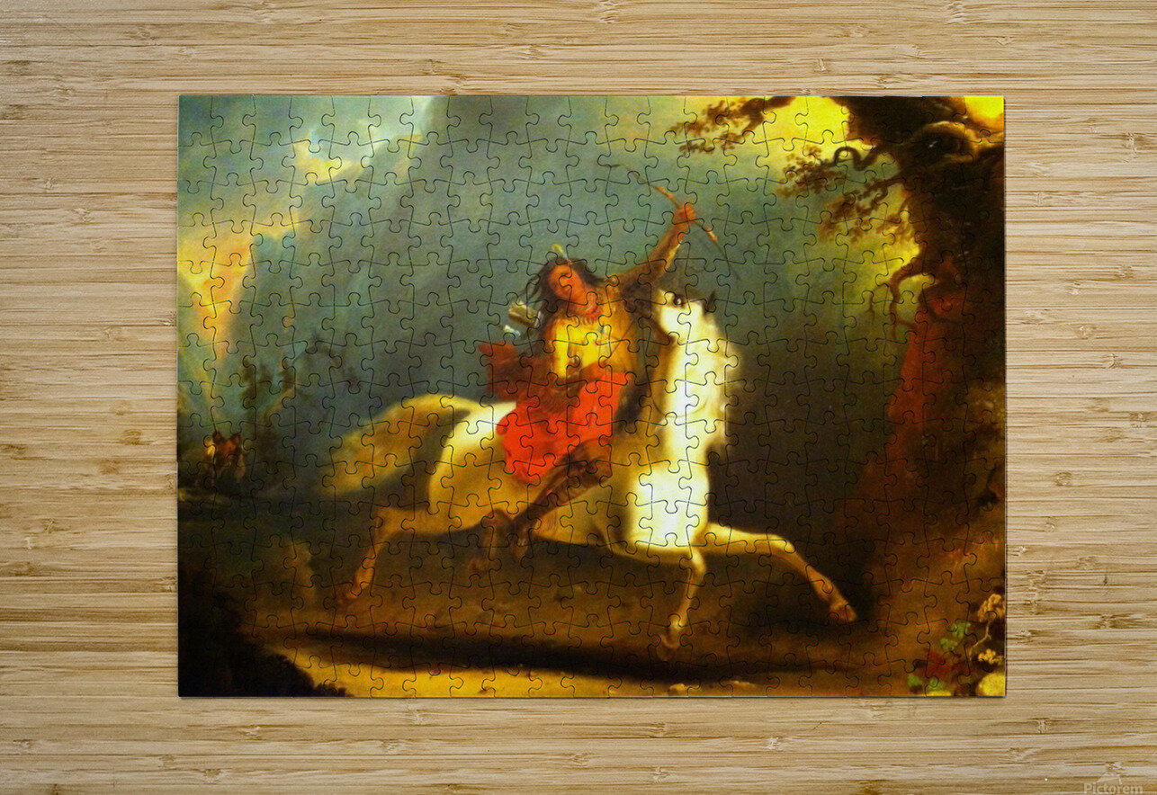 Crow Indian on Horseback  HD Metal print with Floating Frame on Back