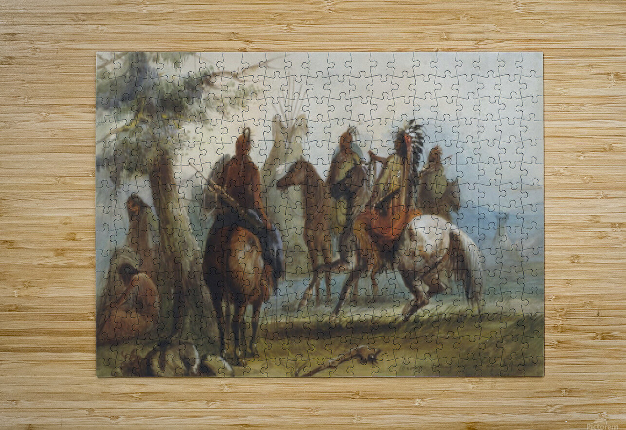 Sioux setting out on an expedition to capture wild horses  HD Metal print with Floating Frame on Back