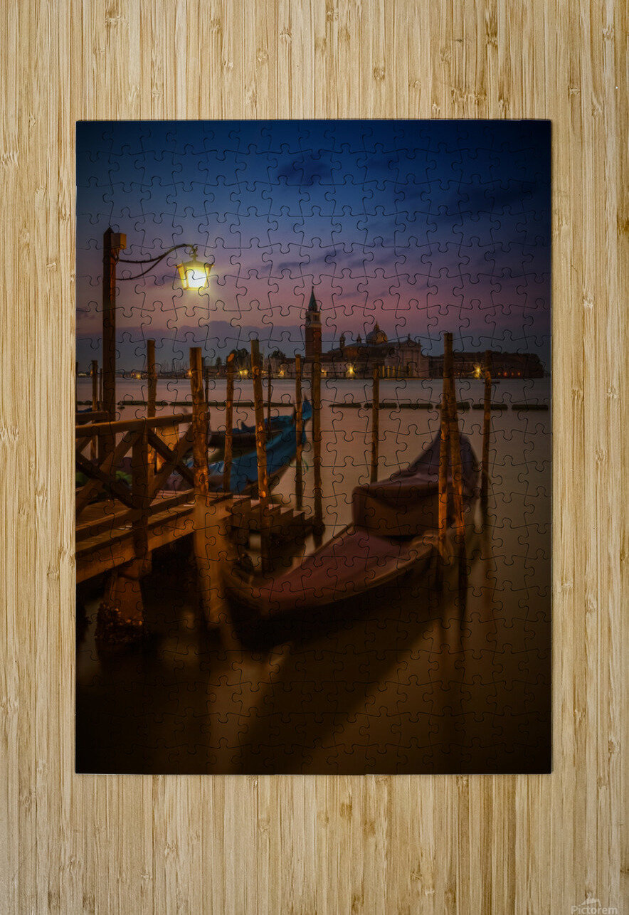 VENICE Gondolas during Blue Hour  HD Metal print with Floating Frame on Back