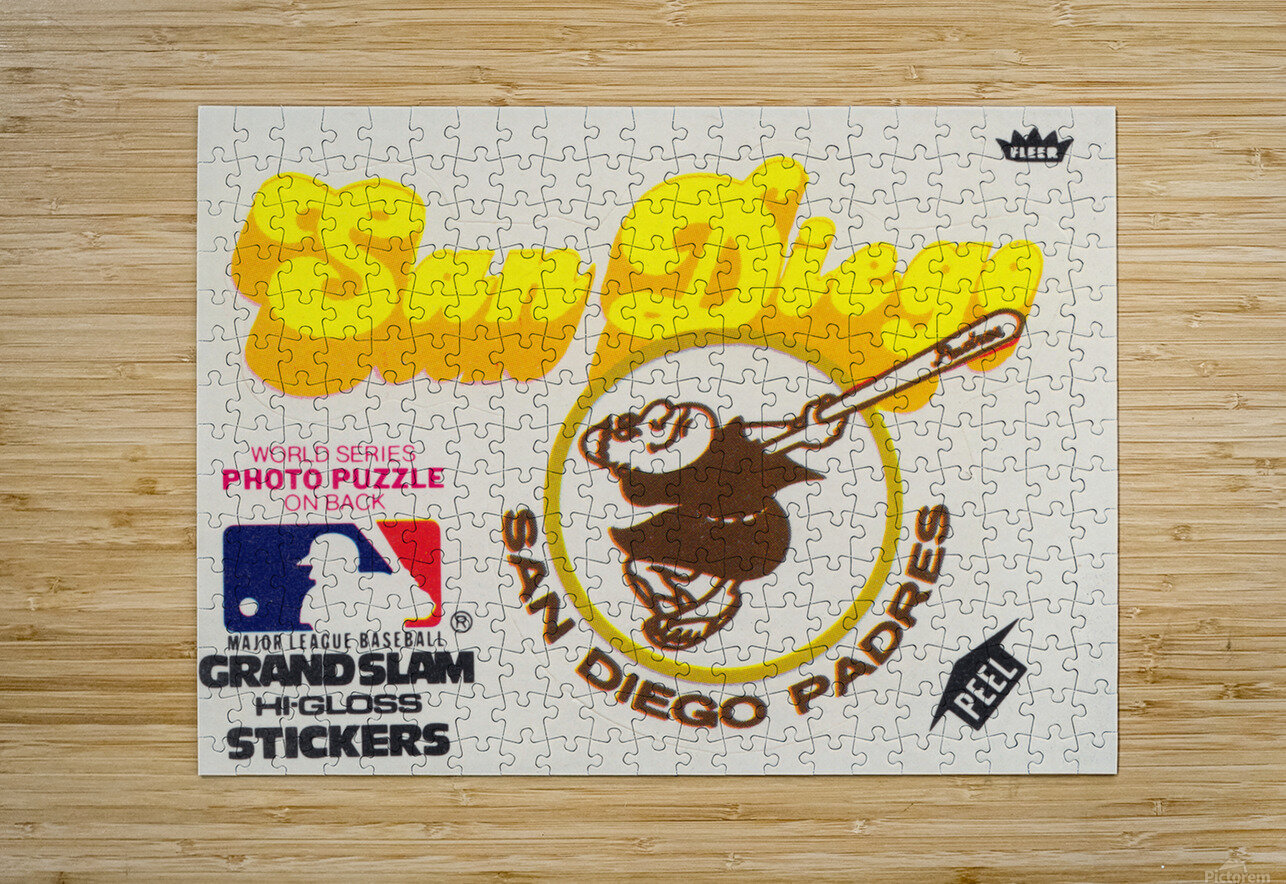 1981 Fleer San Diego Padres Decal Poster  HD Metal print with Floating Frame on Back