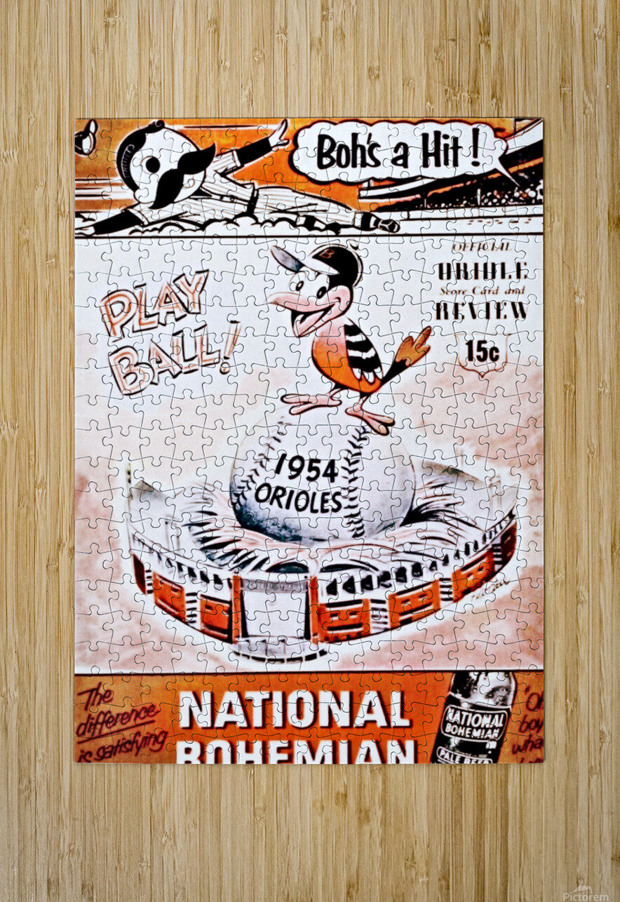 1954 Orioles Score Card Art  HD Metal print with Floating Frame on Back