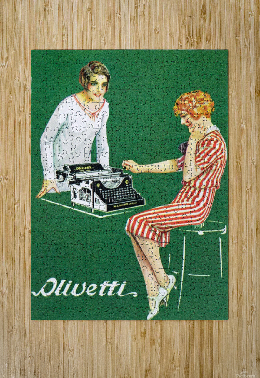 Olivetti poster  HD Metal print with Floating Frame on Back