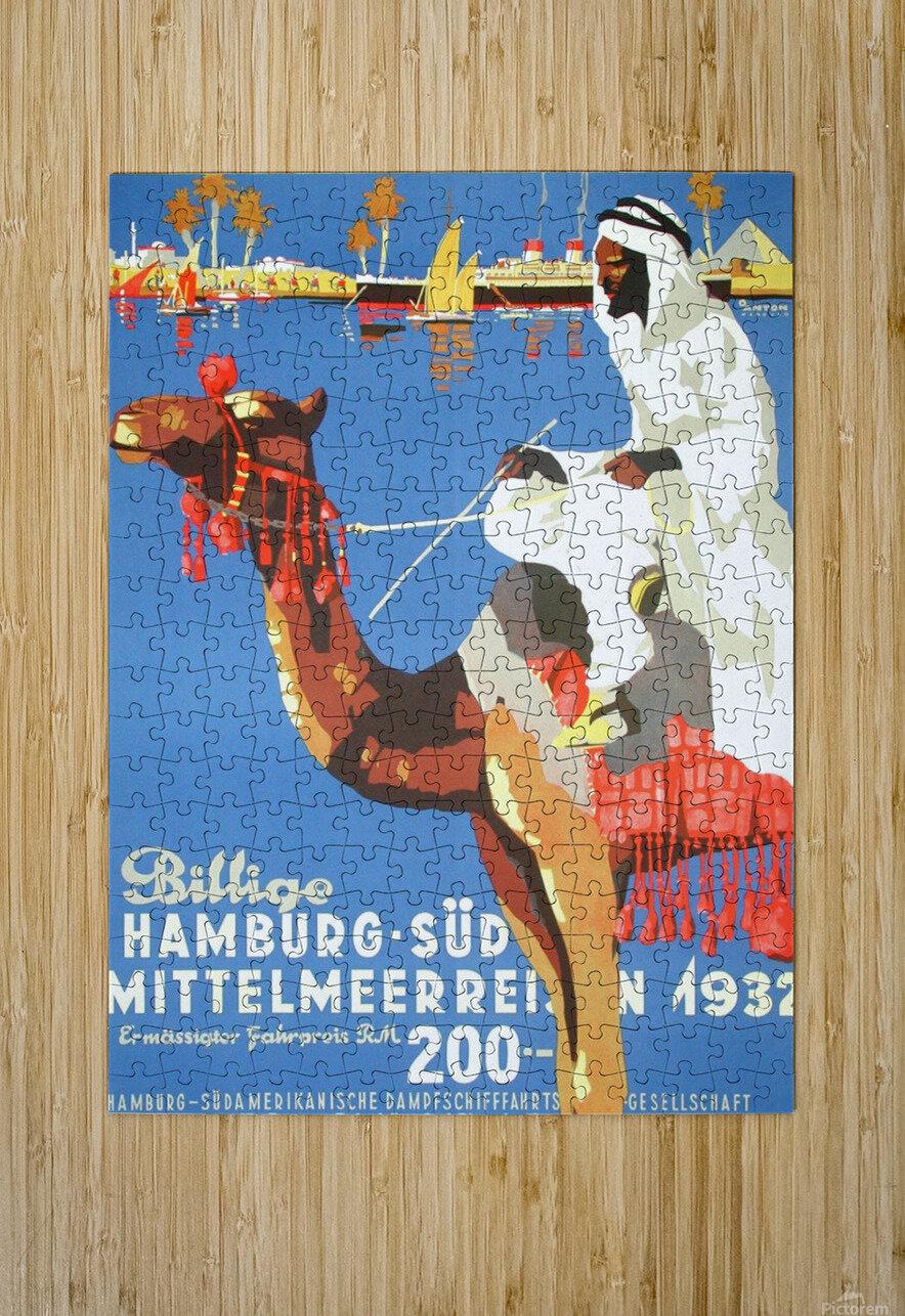 Hamburg-Sud Billige Mittelmeerreisen Original Poster  HD Metal print with Floating Frame on Back