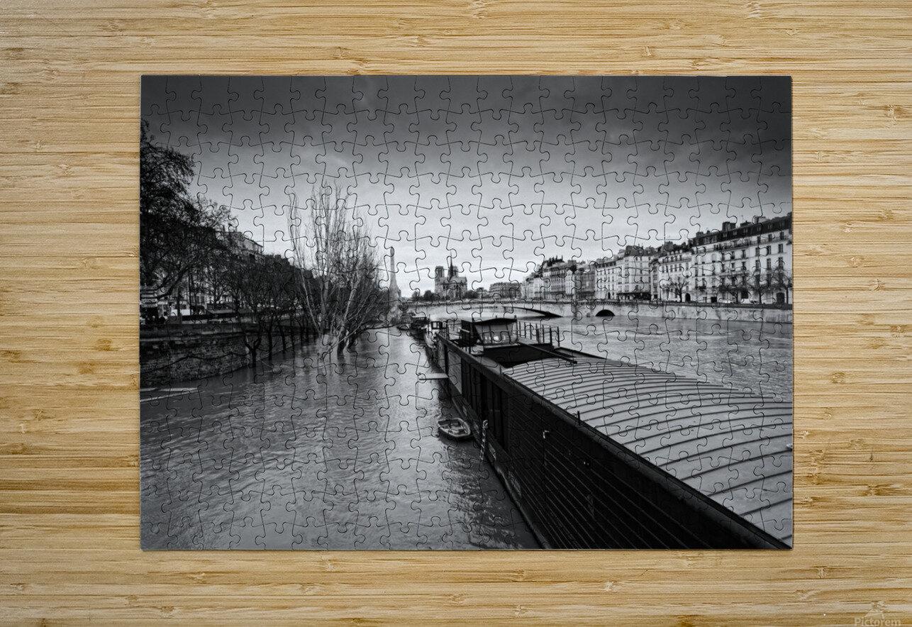 Flood in Paris  Impression métal HD avec cadre flottant sur le dos