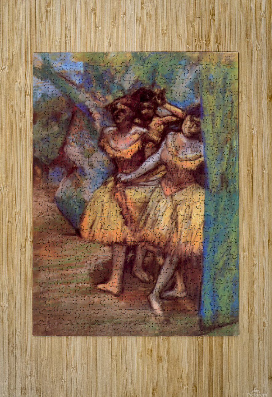 Three dancers behind the scenes by Degas  HD Metal print with Floating Frame on Back