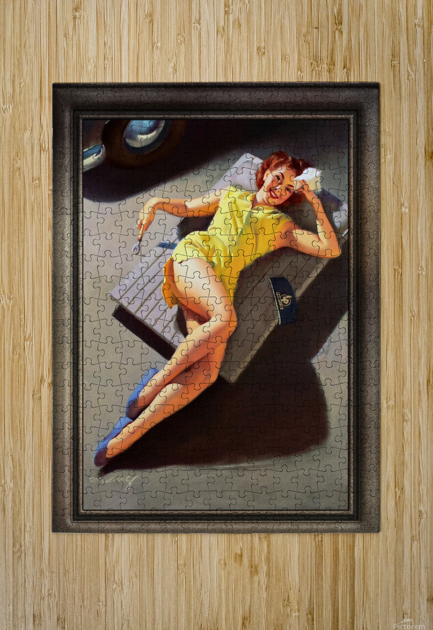 Permite Mechanic Pin-up Girl by Bill Medcalf Vintage Art  HD Metal print with Floating Frame on Back