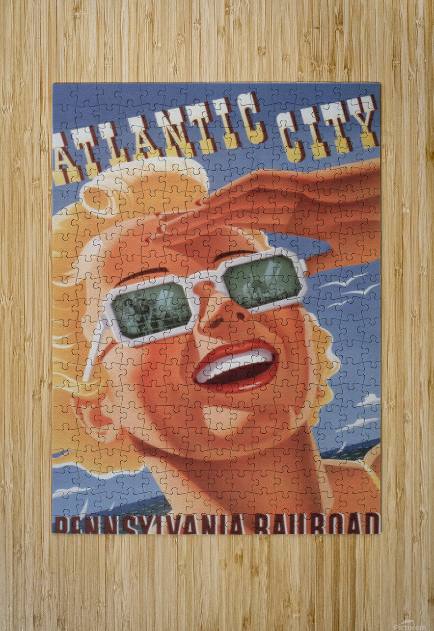 Atlantic City Pennsylvania Railroad Original Poster  HD Metal print with Floating Frame on Back