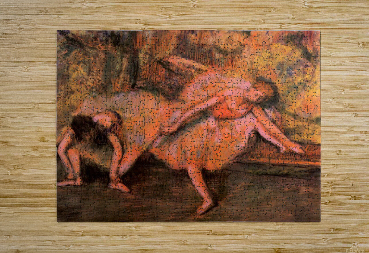 Two dancers on a bank by Degas  HD Metal print with Floating Frame on Back