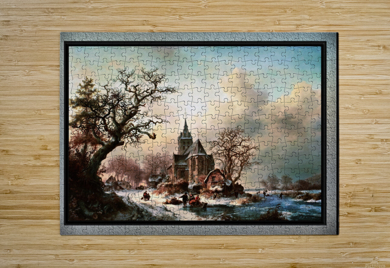 Winter Landscape with Activities by a Village by Frederik Marinus Kruseman Old Masters Classical Fine Art Reproduction  HD Metal print with Floating Frame on Back