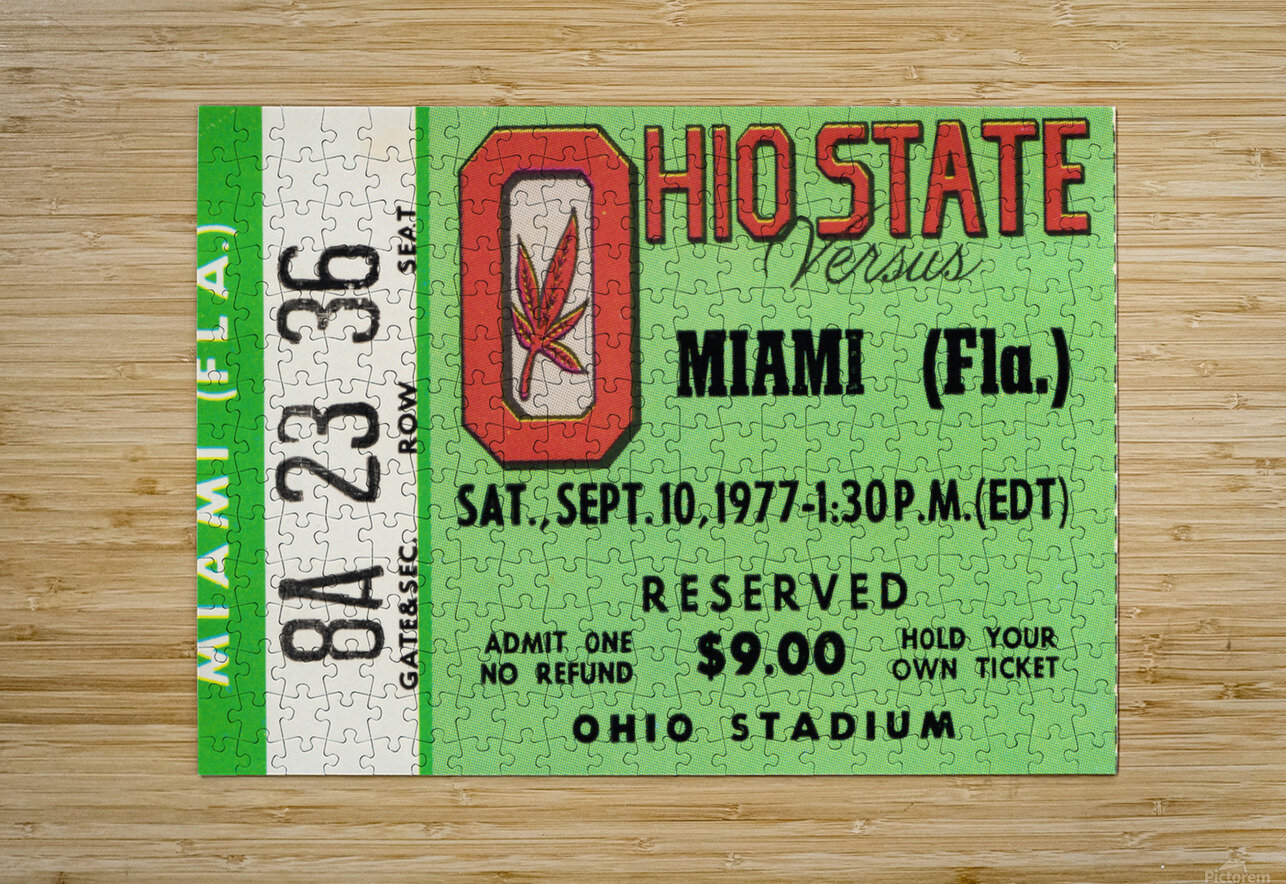 1977 Miami Hurricanes vs. Ohio State Football Ticket Canvas  HD Metal print with Floating Frame on Back