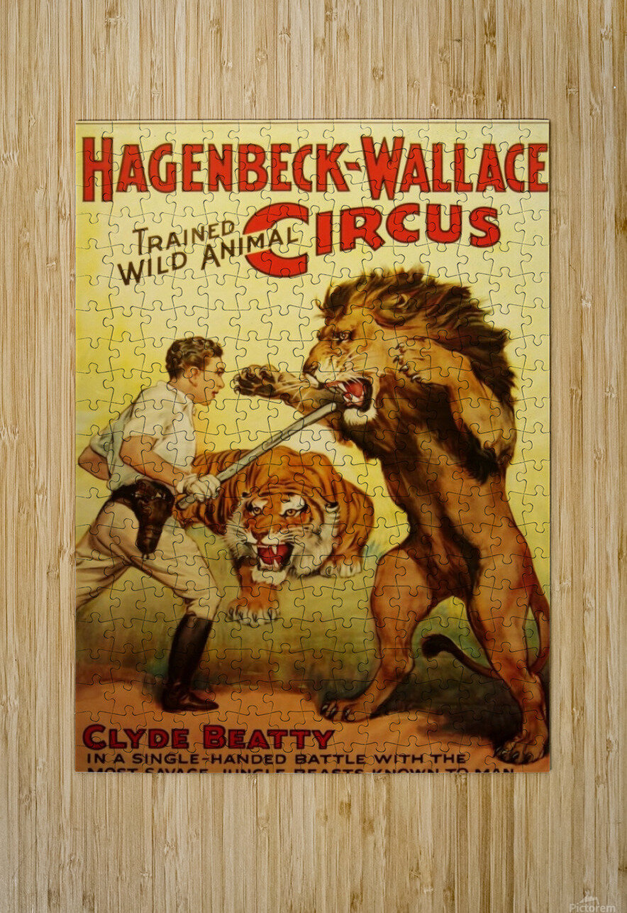Vintage Circus Poster, Lion Tamer Poster  HD Metal print with Floating Frame on Back
