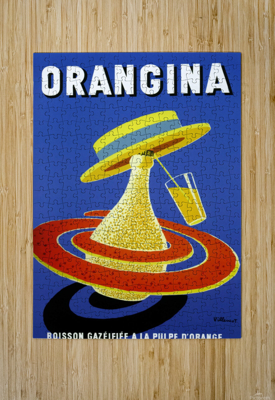 Orangina Vintage Poster  HD Metal print with Floating Frame on Back