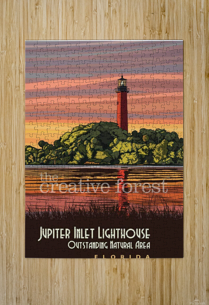 Jupiter Inlet Lighthouse, Vintage Florida Travel Reproduction  HD Metal print with Floating Frame on Back