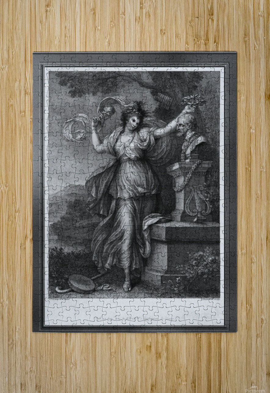 Mrs. Abington as Thalia by Engraver Francesco Bartolozzi Classical Art Old Masters Reproduction  HD Metal print with Floating Frame on Back