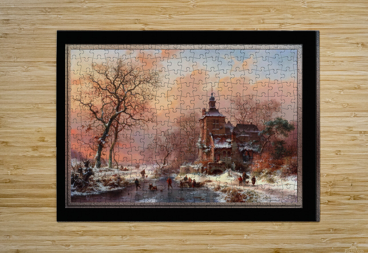 Winter Landscape with Skaters on a Frozen River by Frederik Marinus Kruseman Fine Art Old Masters Reproduction  HD Metal print with Floating Frame on Back