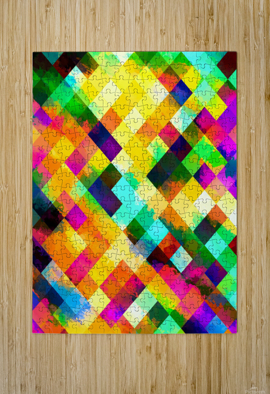 geometric square pixel pattern abstract background in yellow blue green pink orange  HD Metal print with Floating Frame on Back