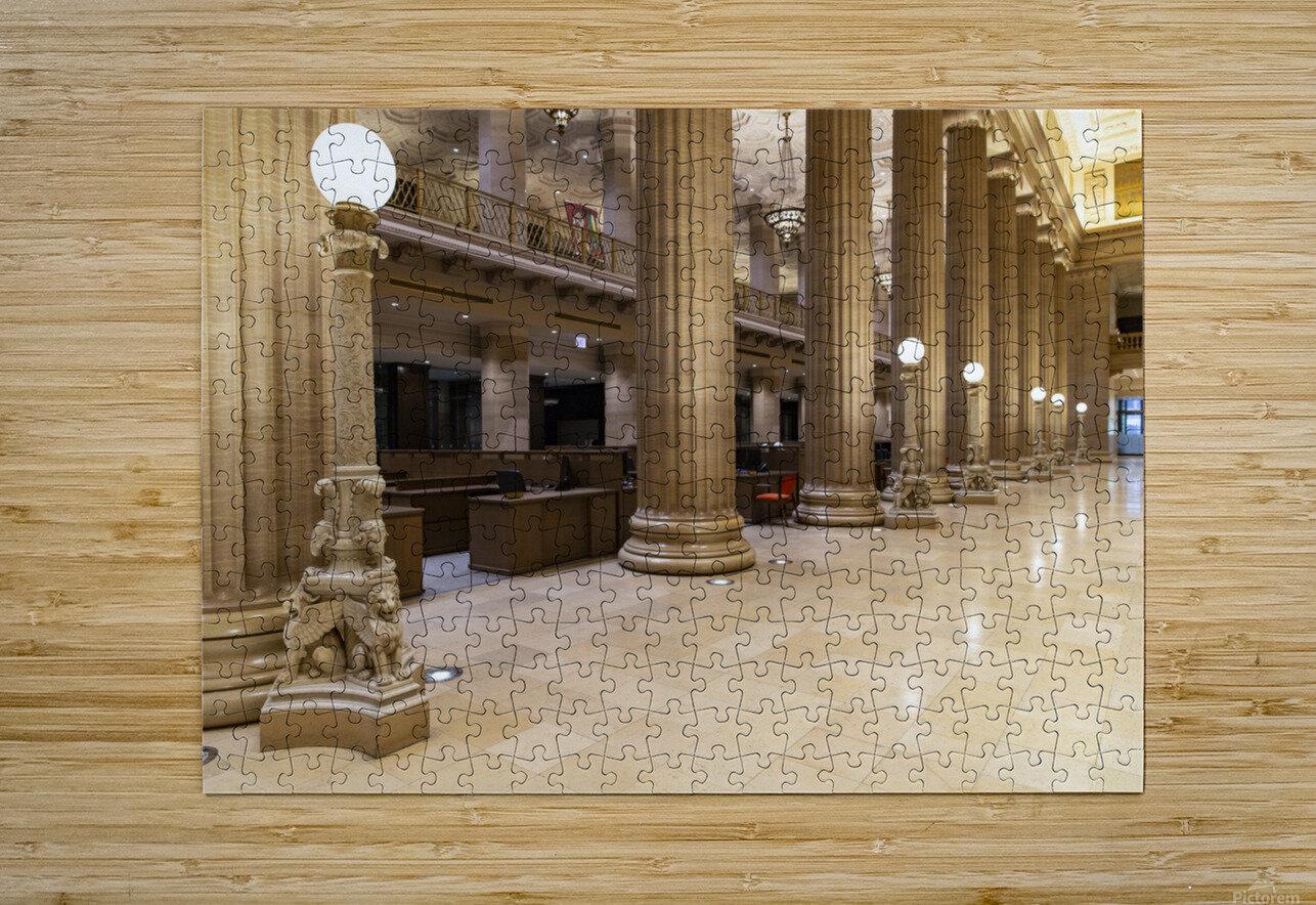Bank Columns  HD Metal print with Floating Frame on Back