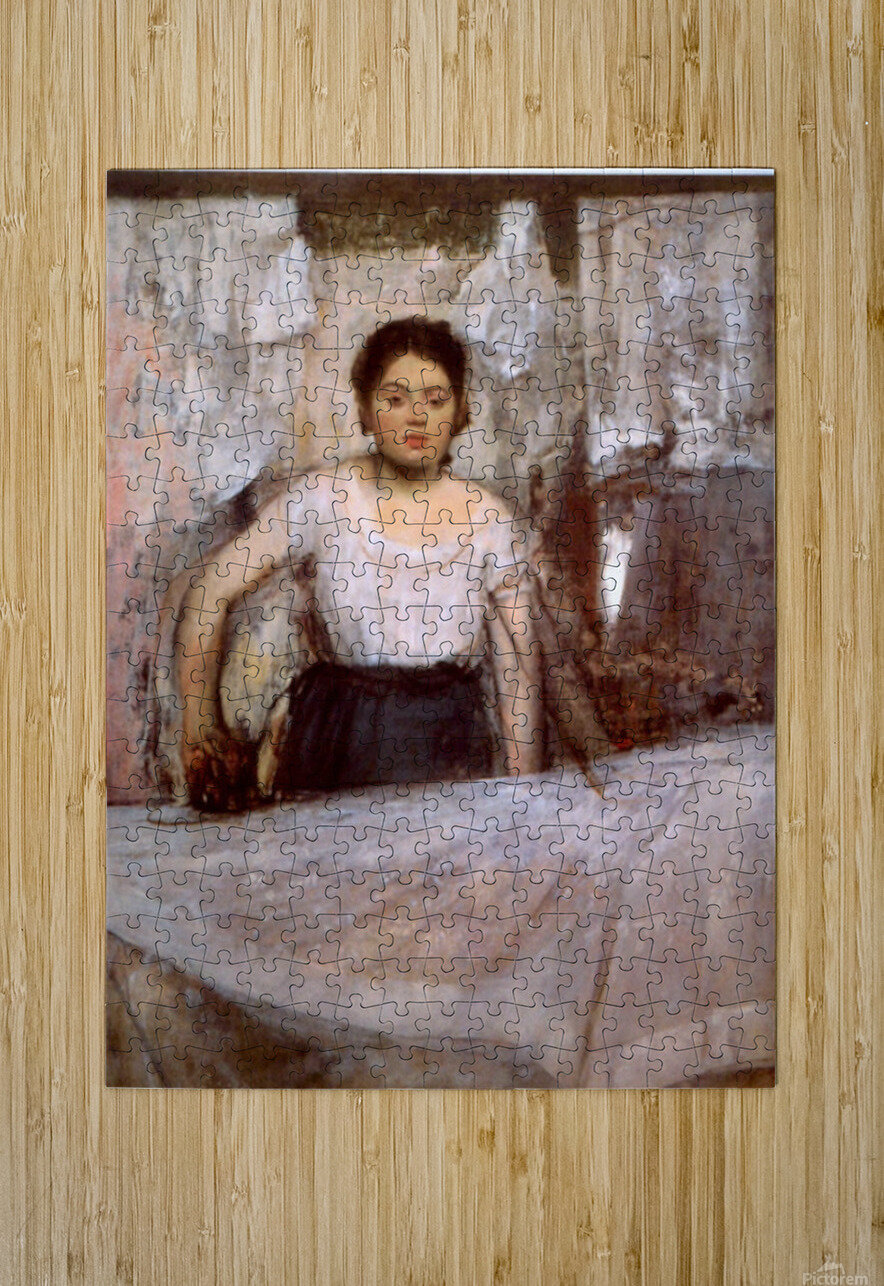 Woman Ironing by Degas  HD Metal print with Floating Frame on Back