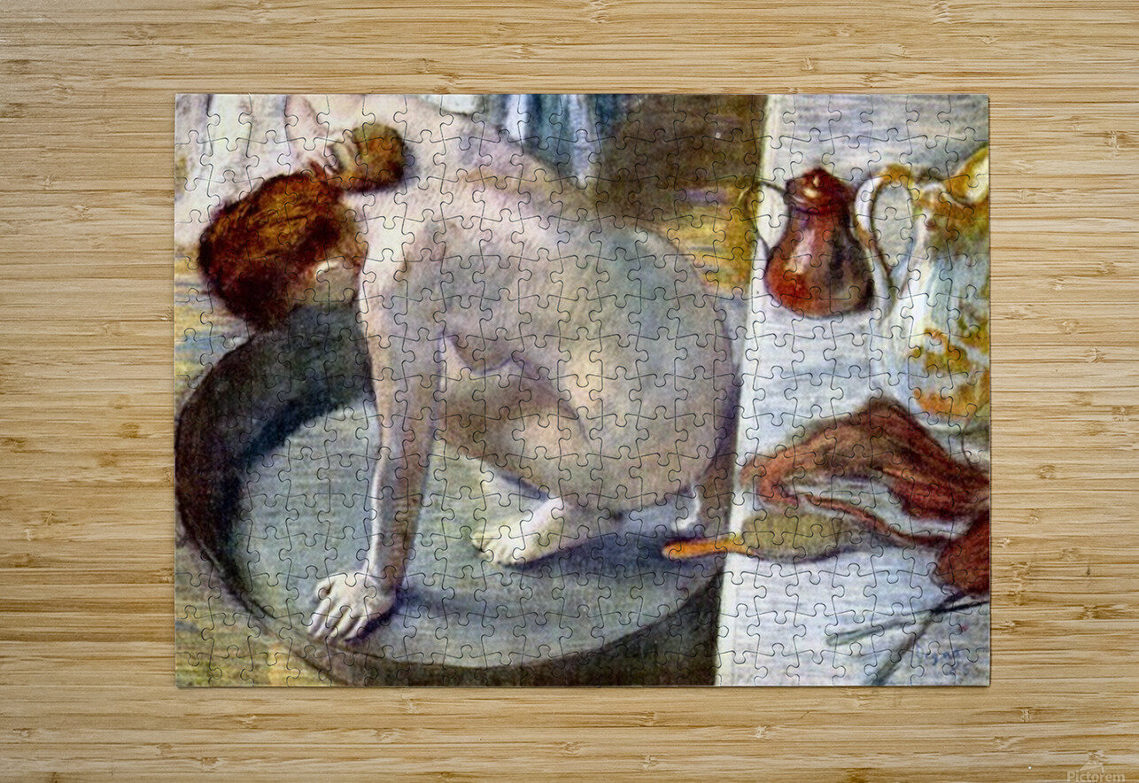 Woman washing in the tub by Degas  HD Metal print with Floating Frame on Back