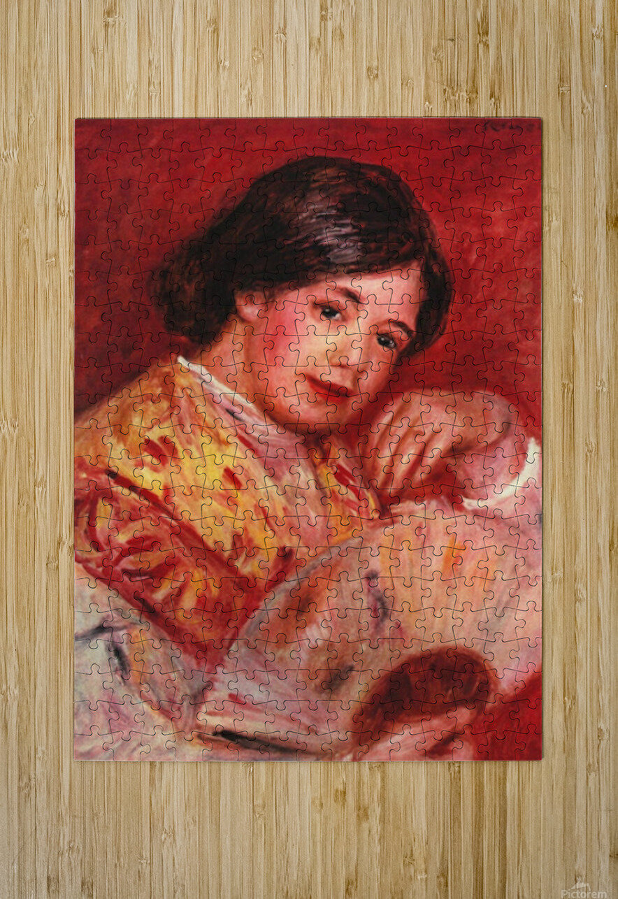 Young girl with fan by Renoir  HD Metal print with Floating Frame on Back