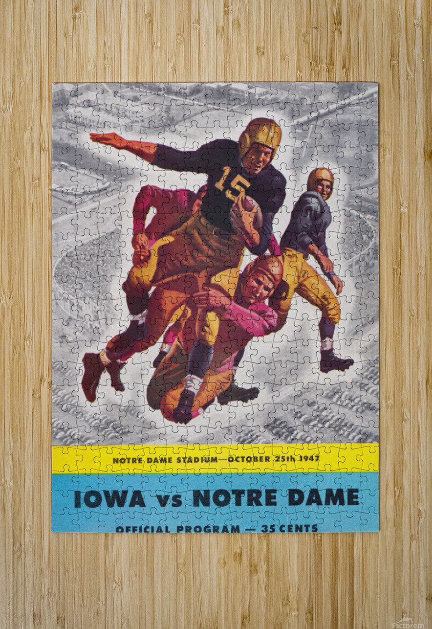 1947 Notre Dame vs. Iowa Football Program Cover Art  HD Metal print with Floating Frame on Back