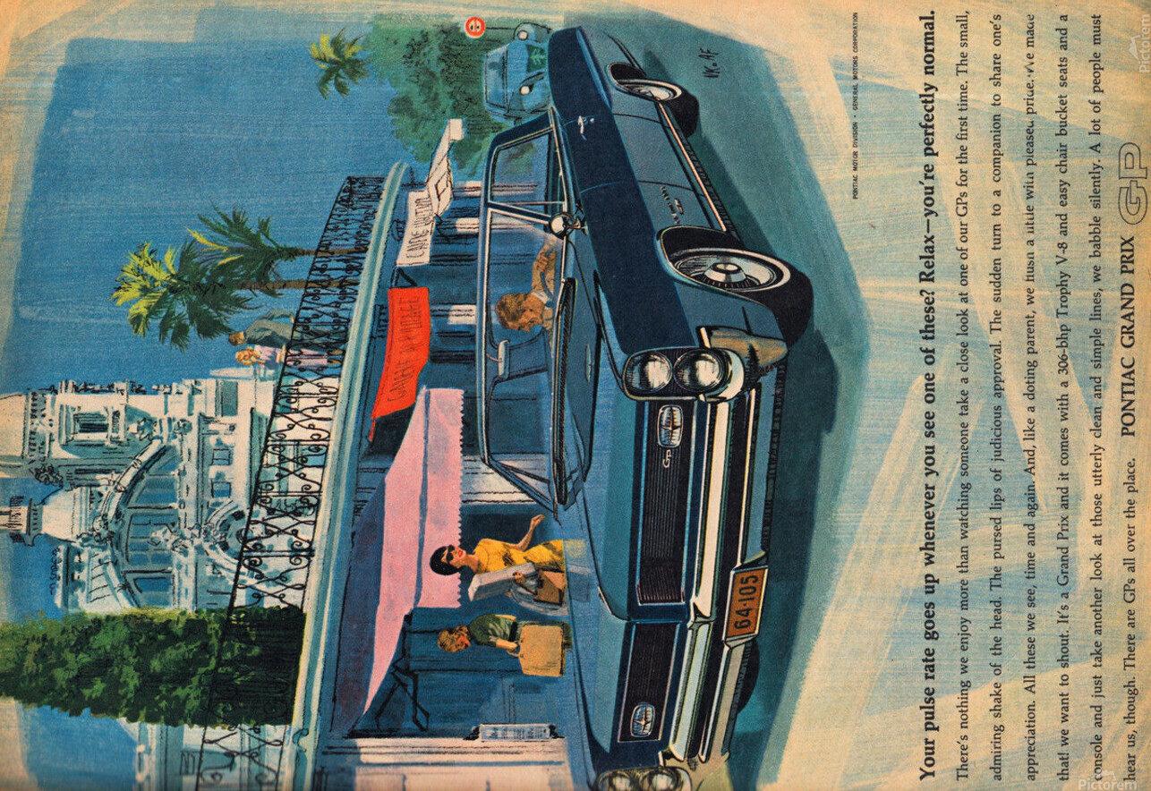1964 Pontiac Grand Prix Car Advertisement  HD Metal print with Floating Frame on Back