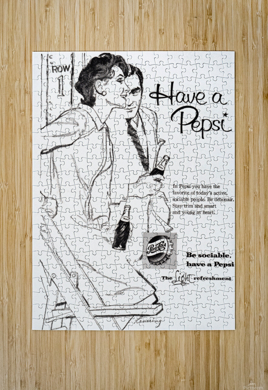 1960 Pepsi Advertisement Poster  HD Metal print with Floating Frame on Back