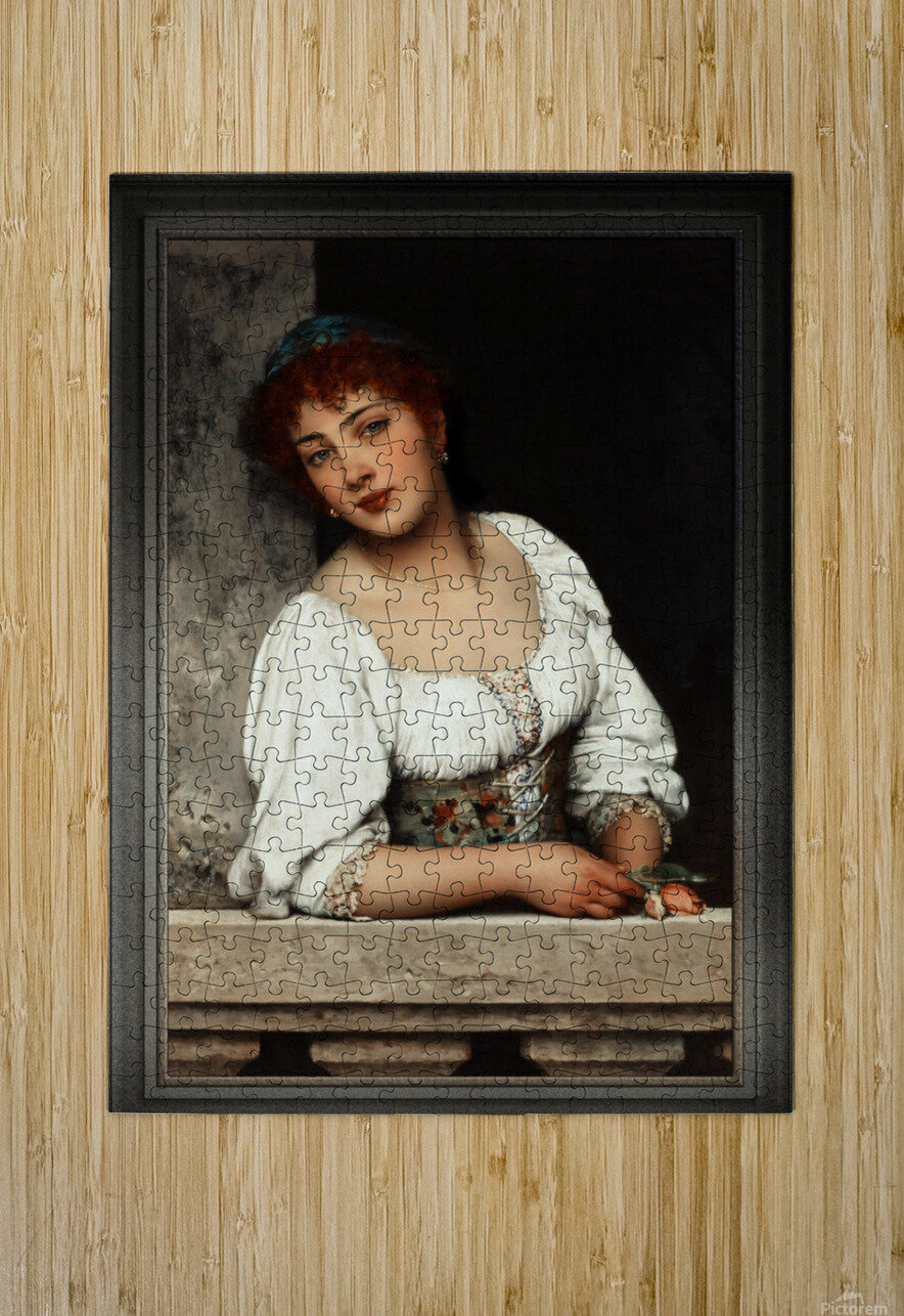 Girl At The Window by Eugen von Blaas Classical Art Xzendor7 Old Masters Reproductions  HD Metal print with Floating Frame on Back