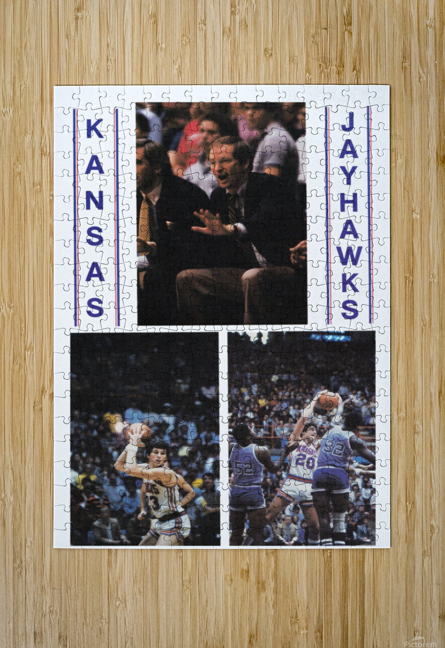 1982 Kansas Jayhawks Basketball Art  HD Metal print with Floating Frame on Back