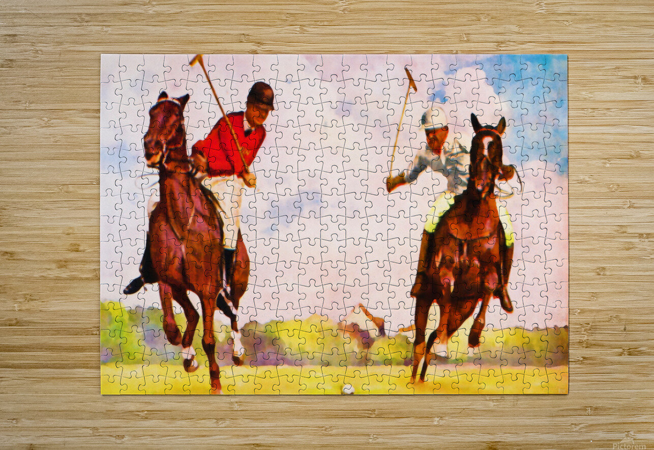 1933 Vintage Polo Art  HD Metal print with Floating Frame on Back