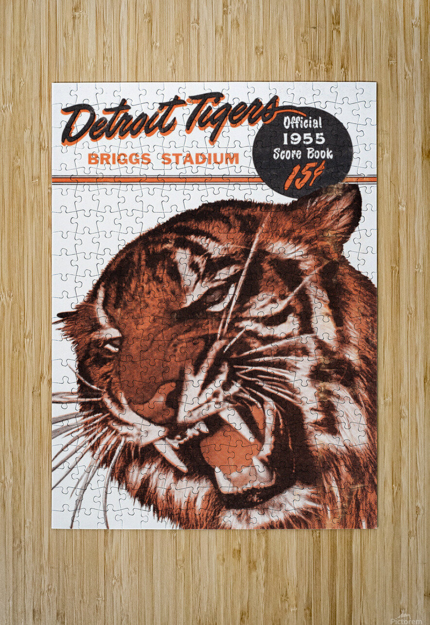 1955 Detroit Tigers Score Book Canvas  HD Metal print with Floating Frame on Back