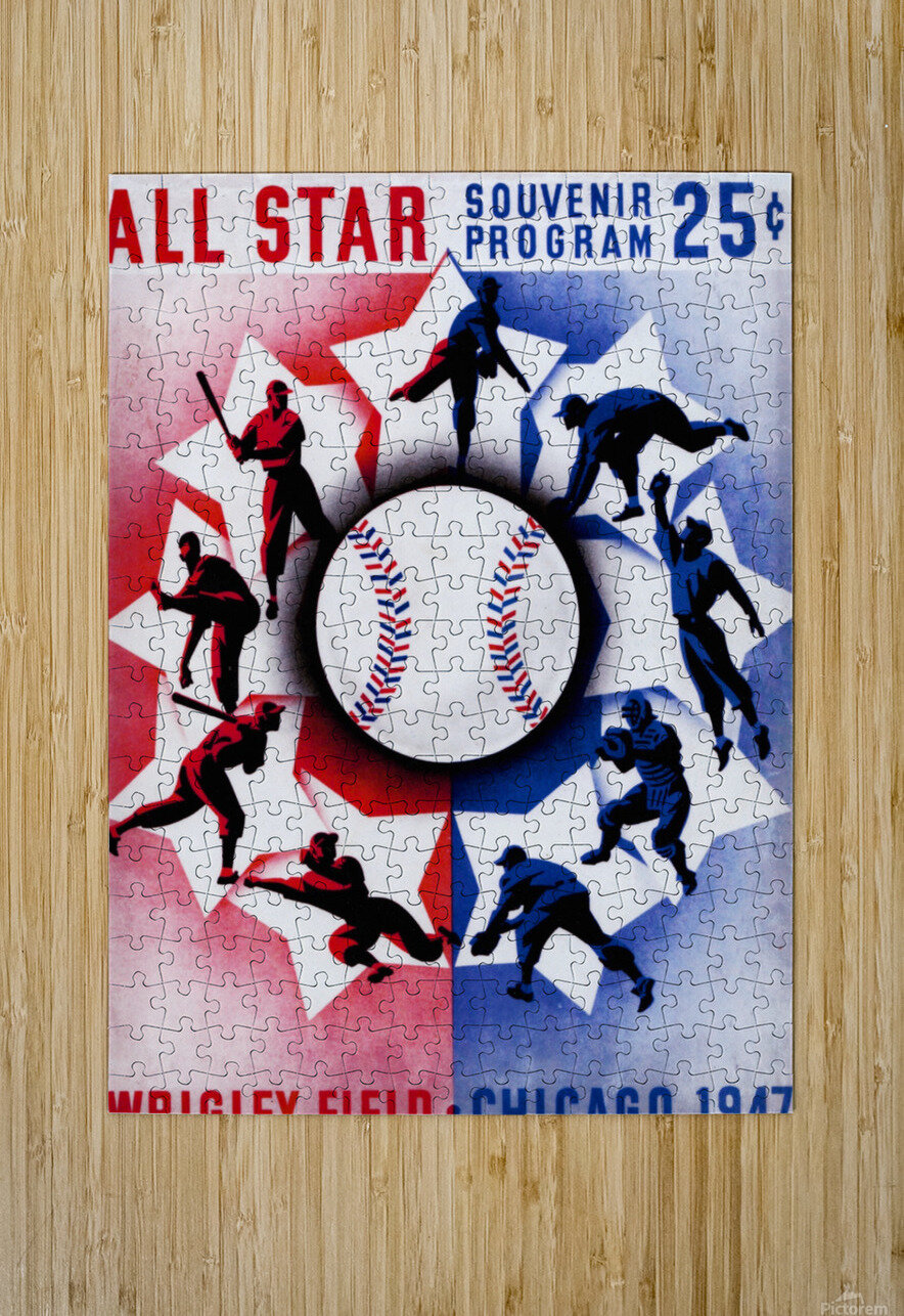 1947 Chicago All-Star Game Program Art  HD Metal print with Floating Frame on Back