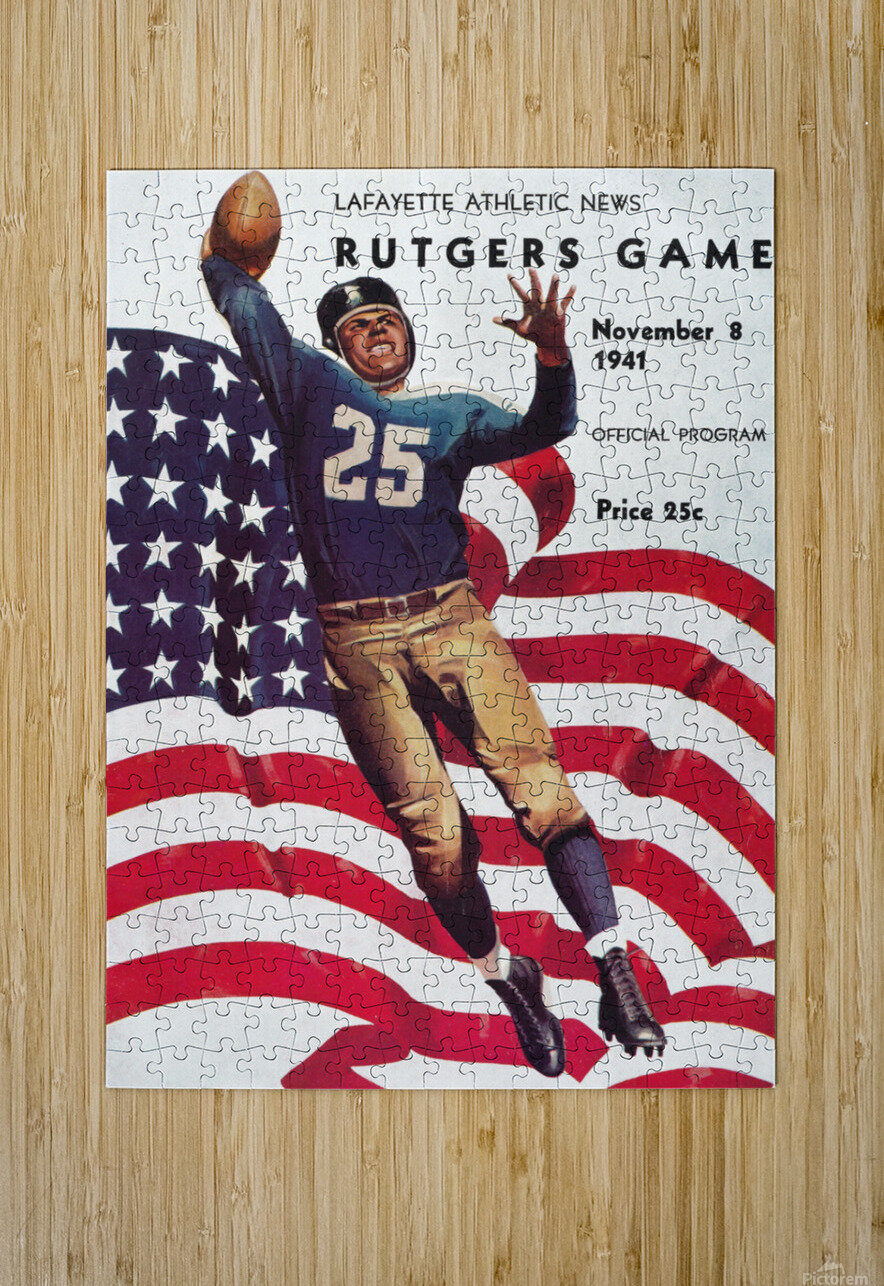 1941 Rutgers vs. Lafayette  HD Metal print with Floating Frame on Back