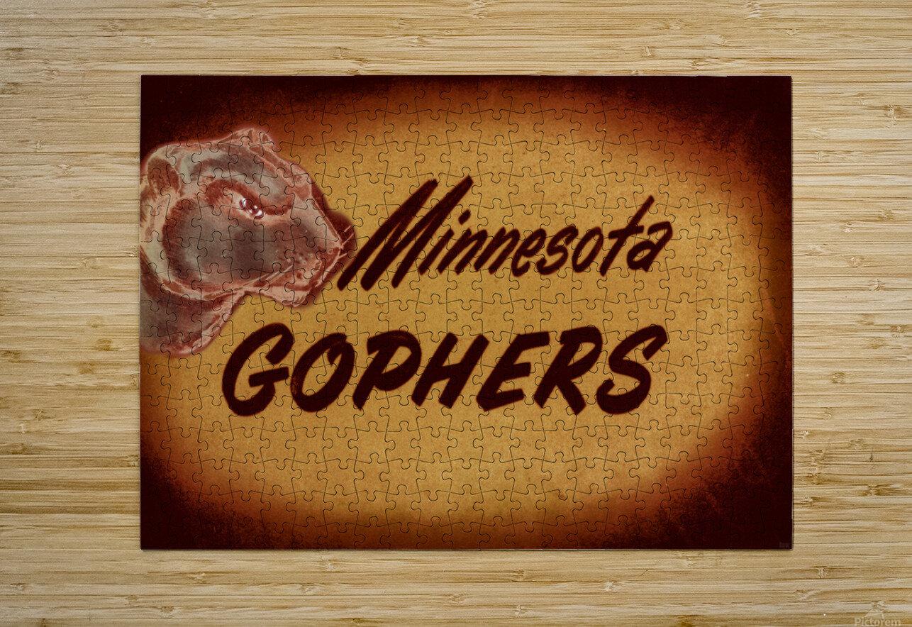 1950 Vintage Minnesota Golden Gopher Art  HD Metal print with Floating Frame on Back