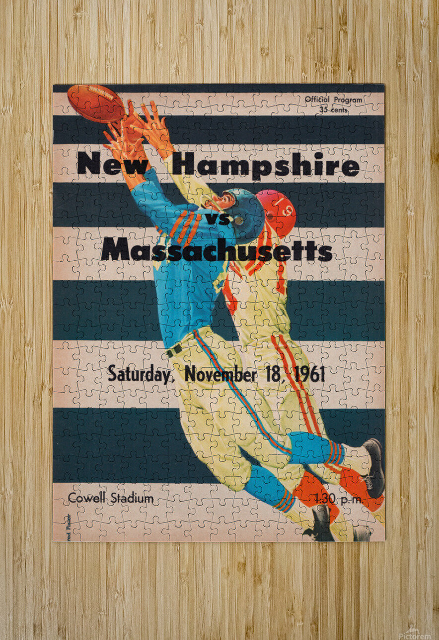1961 Massachusetts vs. New Hampshire Wildcats  HD Metal print with Floating Frame on Back