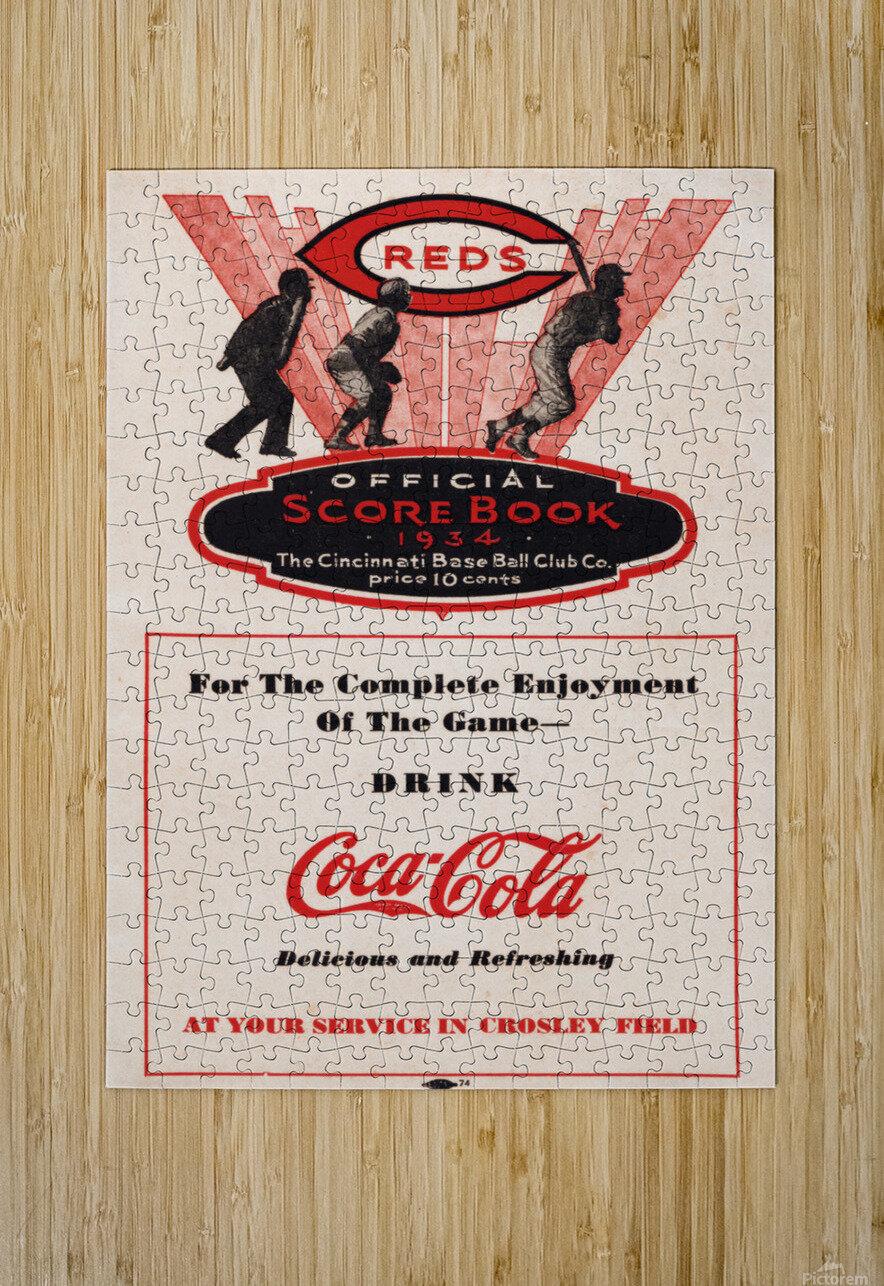 1934 Cincinnati Reds Score Book & Coke Ad  HD Metal print with Floating Frame on Back