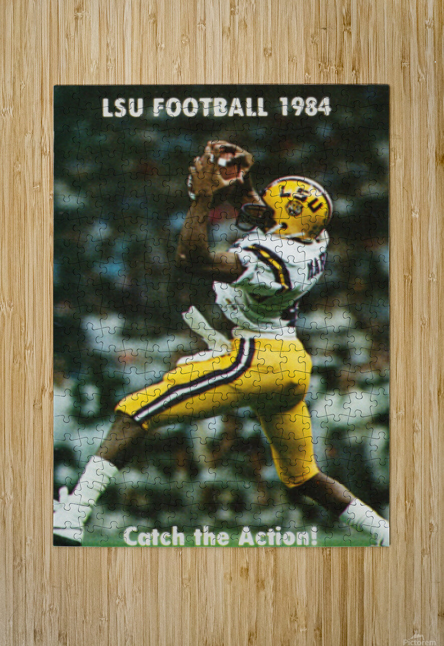 1984 LSU Tigers Football Catch The Action  HD Metal print with Floating Frame on Back