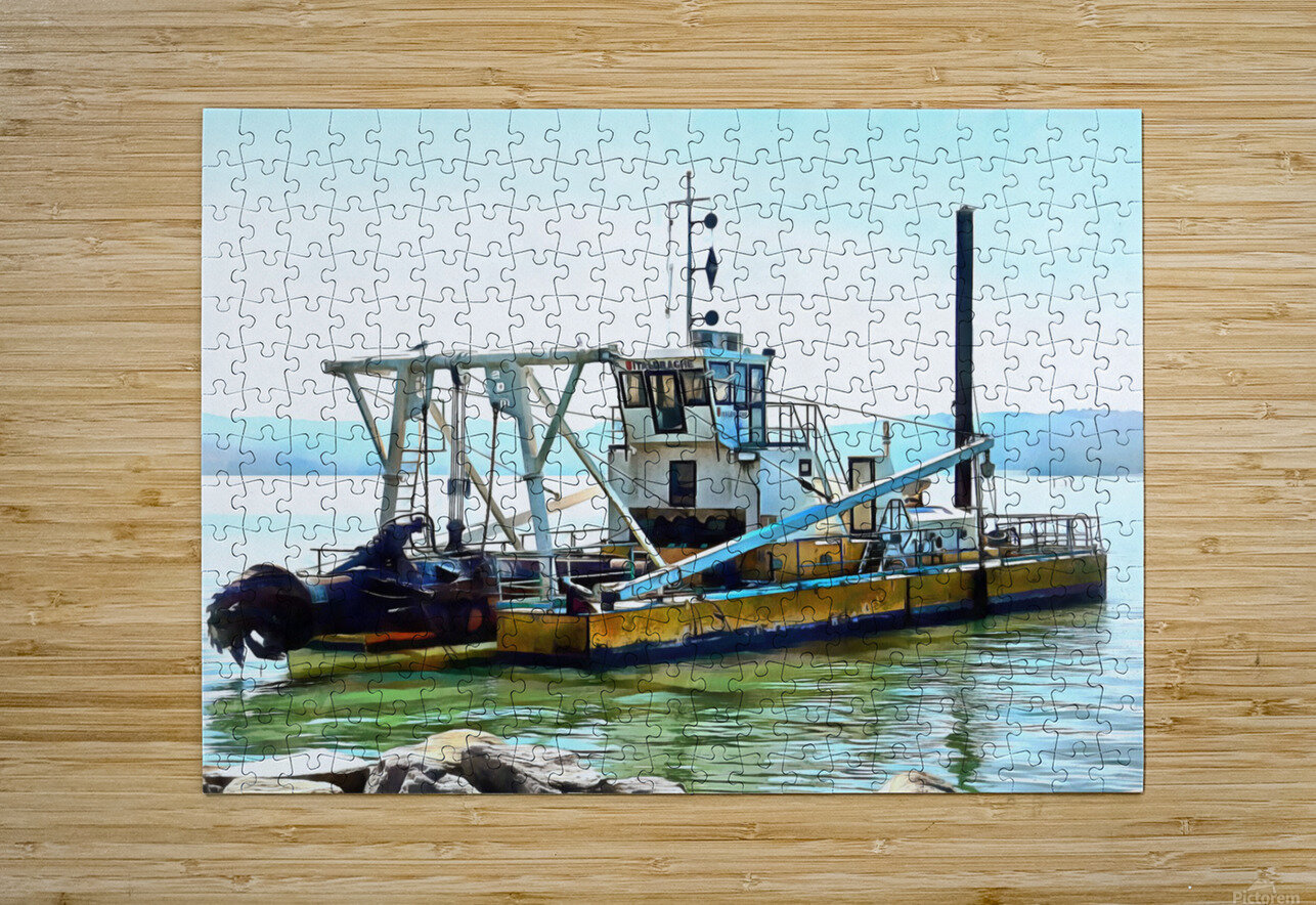 Lake Dredger at Passignano Sul Lago  HD Metal print with Floating Frame on Back