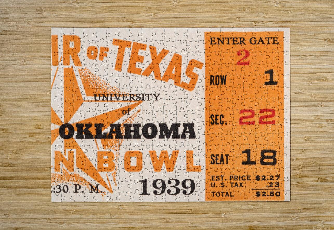1939 Texas Longhorns vs. Oklahoma Sooners  HD Metal print with Floating Frame on Back