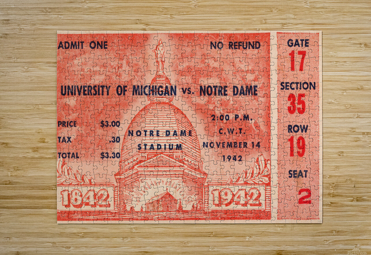 1942 Michigan vs. Notre Dame Football Ticket Stub Art  HD Metal print with Floating Frame on Back