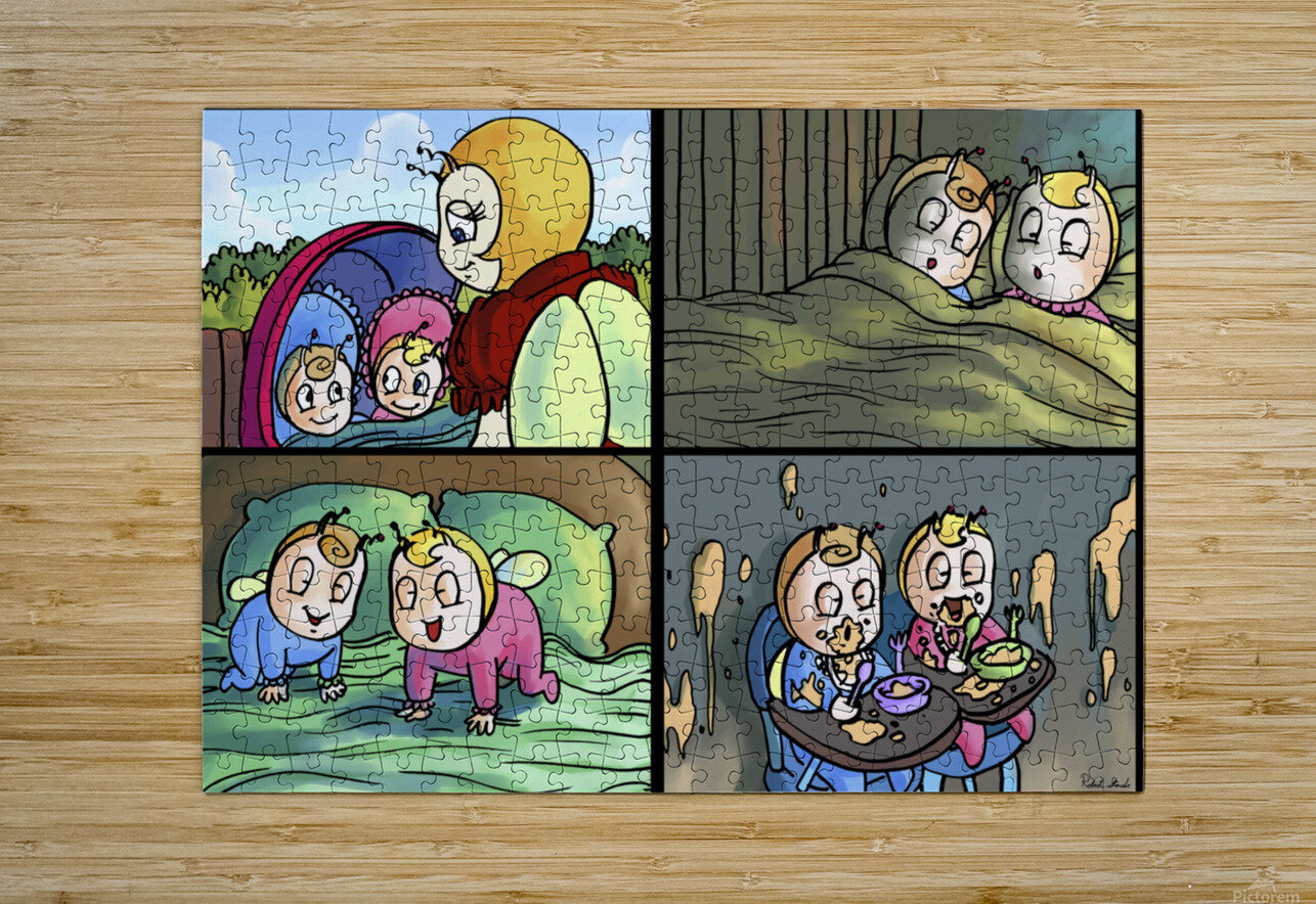 Mom and the Twins - 4 panel Favorites for Kids Room and Nursery - Bugville Critters  HD Metal print with Floating Frame on Back