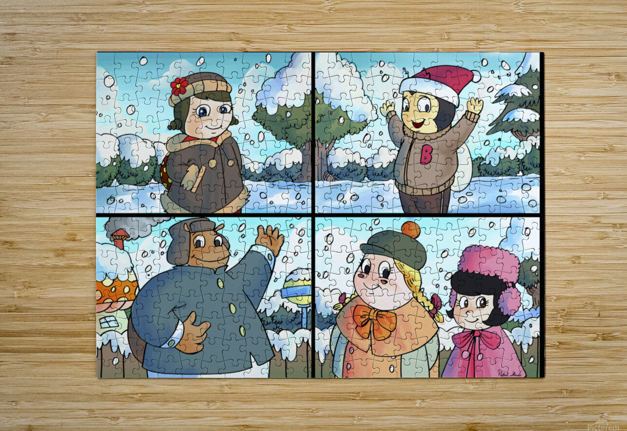 Winter Wonderland Fun   Playing in the Snow   4 panel Favorites for Kids Room and Nursery   Bugville Critters  HD Metal print with Floating Frame on Back